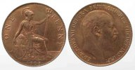 England  GREAT BRITAIN Penny 1908 EDWARD VII bronze XF+! # 77771