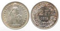 Schweiz  1875 f.unz EIDGENOSSENSCHAFT 2 Fr...