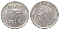 Niederlande  NETHERLANDS 25 Cents 1948 WILHELMINA Nickel aUNC # 79954