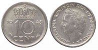Niederlande  NETHERLANDS 10 Cents 1948 WILHELMINA Nickel UNC # 79969