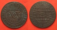 Brasilien  BRAZIL 20 Reis 1815 R JOAO VI of PORTUGAL copper SCARCE!!! VF+ # 82895
