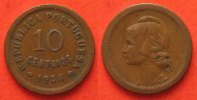 Portugal  PORTUGAL 10 Centavos 1938 bronze VF SCARCE YEAR!!! # 82963