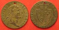 British Tokens  1790 GEORGE III SPADE GUINEA BRASS TOKEN 25mm VF-XF # 87036