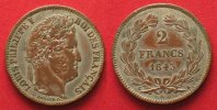 Frankreich  RRR!!! TRIAL STRIKE - FRANCE 2 Francs 1843 A-PARIS LOUIS PHILIPPE I aXF # 87315