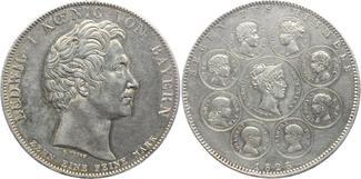 Geschichtstaler 1828 Bayern Ludwig I. 1825-1848. Winz. Kratzer, winz. Randfehler, fast vo