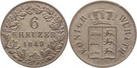 W&uuml;rttemberg 6 Kreuzer 1849 Sehr sch&ouml;n Wilhelm I. 1816-1864. 10,00 EUR inkl. gesetzl. MwSt., zzgl. 3,00 EUR Versand