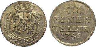 1/48 Taler 1756 Sachsen-Albertinische Linie Friedrich August II. 1733-1763. Vorzüglich - Stempelglanz
