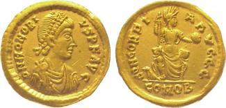 Gold 395-423 n. Chr. Kaiserzeit Honorius 395-423. Kl. Graffito auf der Vorderseite, sehr schön - vorzüglich