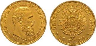 10 Mark Gold 1888  A Preußen Friedrich III. 1888. Vorzüglich