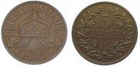 Cu 5 Heller 1908  J Deutsch Ostafrika  Winz. Randfehler, fast vorzüglich  95,00 EUR  zzgl. 5,00 EUR Versand