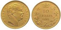 10 Dinara Gold 1882  V Jugoslawien-Serbien...