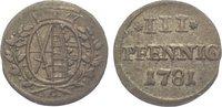 3 Pfennig 1781  C Sachsen-Albertinische Linie Friedrich August III. 176... 20,00 EUR  zzgl. 5,00 EUR Versand