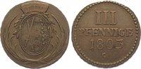 Cu 3 Pfennig 1803  C Sachsen-Albertinische Linie Friedrich August III. ... 40,00 EUR  zzgl. 5,00 EUR Versand