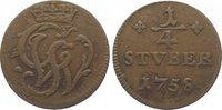 Wied-Runkel Cu 1/4 Stüber 1 1758 Sehr schön Johann Ludwig Adolf 1706-176... 20,00 EUR  zzgl. 5,00 EUR Versand