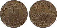 Cu 1/2 Groten 1841 Bremen, Stadt  Fast vorzüglich  95,00 EUR  zzgl. 5,00 EUR Versand