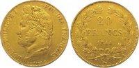 20 Francs Gold 1844  A Frankreich Louis Philipp 1830-1848. Sehr schön  255,00 EUR kostenloser Versand