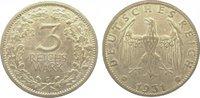 3 Mark 1931  G Weimarer Republik  Fast vorzüglich  395,00 EUR kostenloser Versand