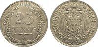 25 Pfennig 1912  J Kleinmünzen  Vorzüglich - Stempelglanz  40,00 EUR  zzgl. 5,00 EUR Versand