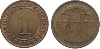 1 Pfennig 1930  E Weimarer Republik  Vorzüglich - Stempelglanz  45,00 EUR  zzgl. 5,00 EUR Versand