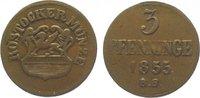 Cu 3 Pfennig 1855 Mecklenburg-Rostock, Stadt  Sehr schön  10,00 EUR  zzgl. 5,00 EUR Versand