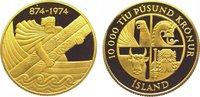 10000 Kronur Gold 1974 Island  Polierte Platte  725,00 EUR kostenloser Versand
