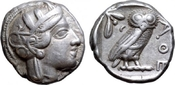 AR Tetradrachm. 454-404 BC. Griechenland Attica, Athen. VZ