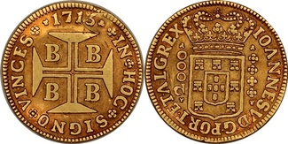 2000 Reis 1715 Brazil 2000 Réis - João V. BB ss