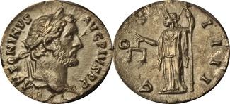 Denar 138-161 AD. Römische Kaiserzeit Antoninus Pius. XF+UNZ