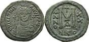 Follis/40 Nummi 538/39 n.Chr. Konstantinopel / Nicomedia Justinian I 527-565 n.Chr. SS+