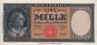 1.000 Lire 1961 Italy ITALIA P.88d I-