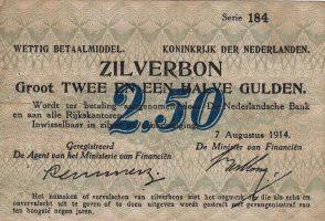 Netherlands 2 1/2 Gulden(AV8.1C)(P.5) 1914...