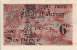 6 Pence 1941 Jersey ARMS P.1a XF-