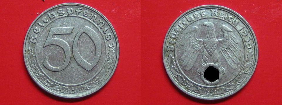 50 Reichspfennig 1939 D III.Reich 50 Rpf. Nickel ss-vz