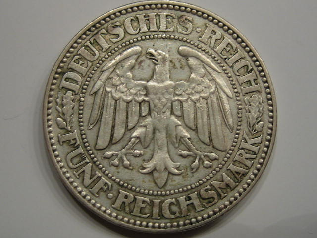 Weimarer Republik 5 Mark Eichbaum 1929 A 5 Mark 1929 A f.vz
