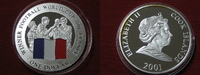 1 Dollar 2001 Cook Islands Fussballweltmeisterschaft Frankreich  Silber... 24,95 EUR