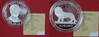 10 Francs 2001 Kongo Congo 10 Francs 2001 Kofi Annan Silber Proof PP Pr... 31,95 EUR  zzgl. 3,95 EUR Versand
