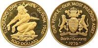 100 Dollars Gold 1976 Guyana  Polierte Platte  225,00 EUR  zzgl. 7,00 EUR Versand