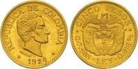 5 Pesos Gold 1924 Kolumbien Republik seit 1886. Vorzüglich +  425,00 EUR  zzgl. 7,00 EUR Versand