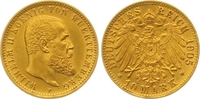 10 Mark Gold 1905  F Württemberg Wilhelm II. 1891-1918. Winziger Randfe... 285,00 EUR  zzgl. 7,00 EUR Versand