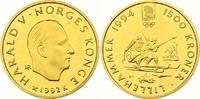 1500 Kronen Gold 1992 Norwegen Harald V. seit 1991. Winzige Kratzer, Po... 700,00 EUR  zzgl. 7,00 EUR Versand