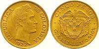5 Pesos Gold 1922 Kolumbien Republik seit 1886. Prachtexemplar. Fast St... 575,00 EUR