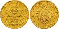 20 Mark Gold 1878  J Hamburg  Vorzüglich  375,00 EUR  zzgl. 7,00 EUR Versand