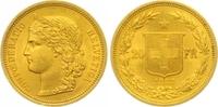 20 Franken Gold 1883 Schweiz-Eidgenossenschaft  Vorzüglich  285,00 EUR  zzgl. 7,00 EUR Versand