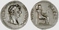 Roman Empire / Römische Kaiserzeit denarius / denar Tiberius - Tribute Penny type - Pax seated - Fine style & choice