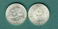 III. Reich 2 Reichsmark 1933 E vz/stgl. Martin Luther 55,00 EUR 