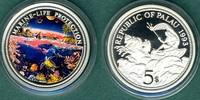 5 Dollars 1993 Palau Meeresfauna, Korallenriff mit Fischen  --coloriert... 24,90 EUR