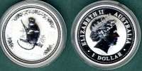 Australien 1 Dollar 2004 stgl. Jahr des Affen  1 oz. Ag 77,00 EUR 