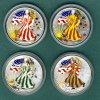 USA 4 x 1 Dollar 2001 stgl. 4 x Silver Eagle 1 oz. coloriert  --Vier Jah... 6440 руб