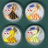 USA 4 x 1 Dollar 2000 stgl. 4 x Silver Eagle 1 oz. coloriert  --Vier Jah... 6440 руб