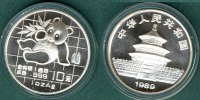 China 10 Yuan 1989 stgl. Panda   1 oz. Ag    54,90 EUR